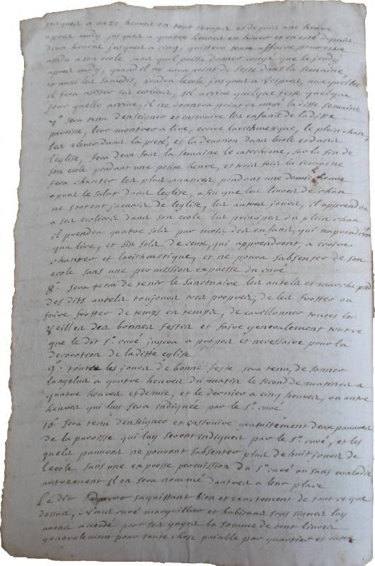 <em>Contrat d'engagement du régent de la paroisse de Versigny (1728)</em>