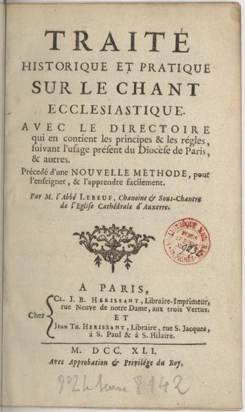 Traité historique et pratique du chant ecclésiastique (1741)