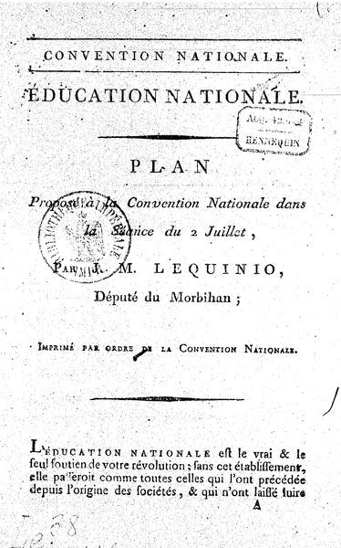 <em>Education nationale : plan proposé à la Convention nationale</em> (179?)
