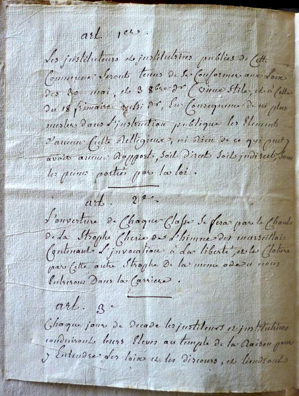 <em>Extrait des registres de la Société populaire de la commune de la Châtre (25 nivôse an II)</em>