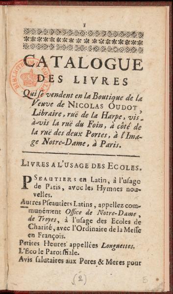 Catalogue du libraire Oudot (c1720)