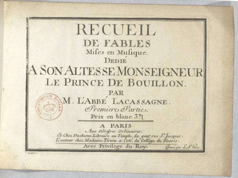 <em>Recueil de fables mises en musique (Lacassagne, c1750)</em>