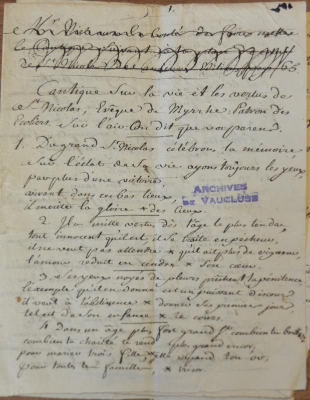<em>Cahier manuscrit de cantiques (Maison des Frères des écoles chrétiennes d'Avignon, c1775)</em>